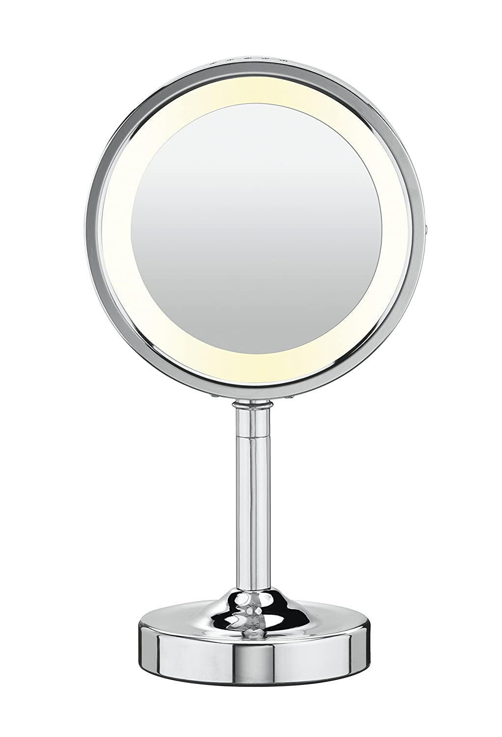 small vanity mirror with lights. amazon.com : conair round shaped double-sided lighted makeup mirror; 1x/5x magnification; polished chrome finish personal mirrors beauty small vanity mirror with lights
