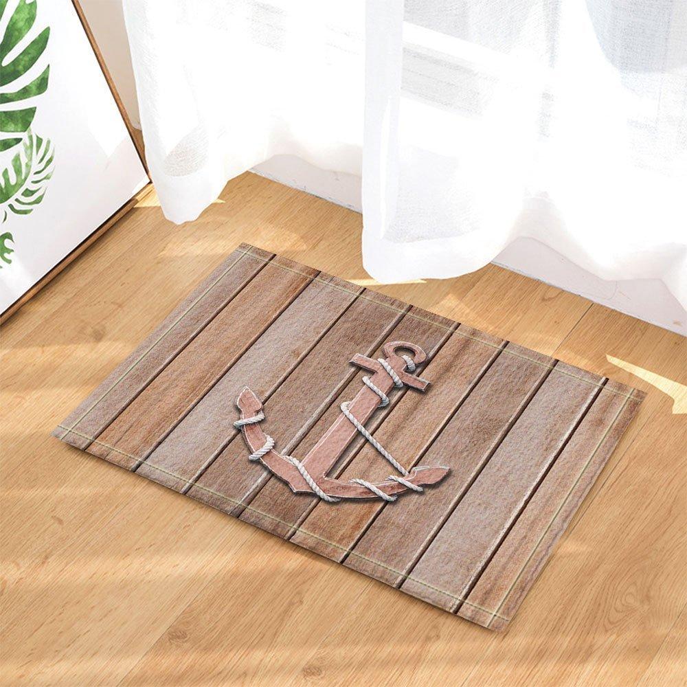 GoHeBe Nautical Decor old Wooden Anchor on a Wall Background Bath Rugs Non-Slip Doormat Floor Entryways Indoor Front Door Mat Kids Bath Mat 15.7x23.6in Bathroom Accessories