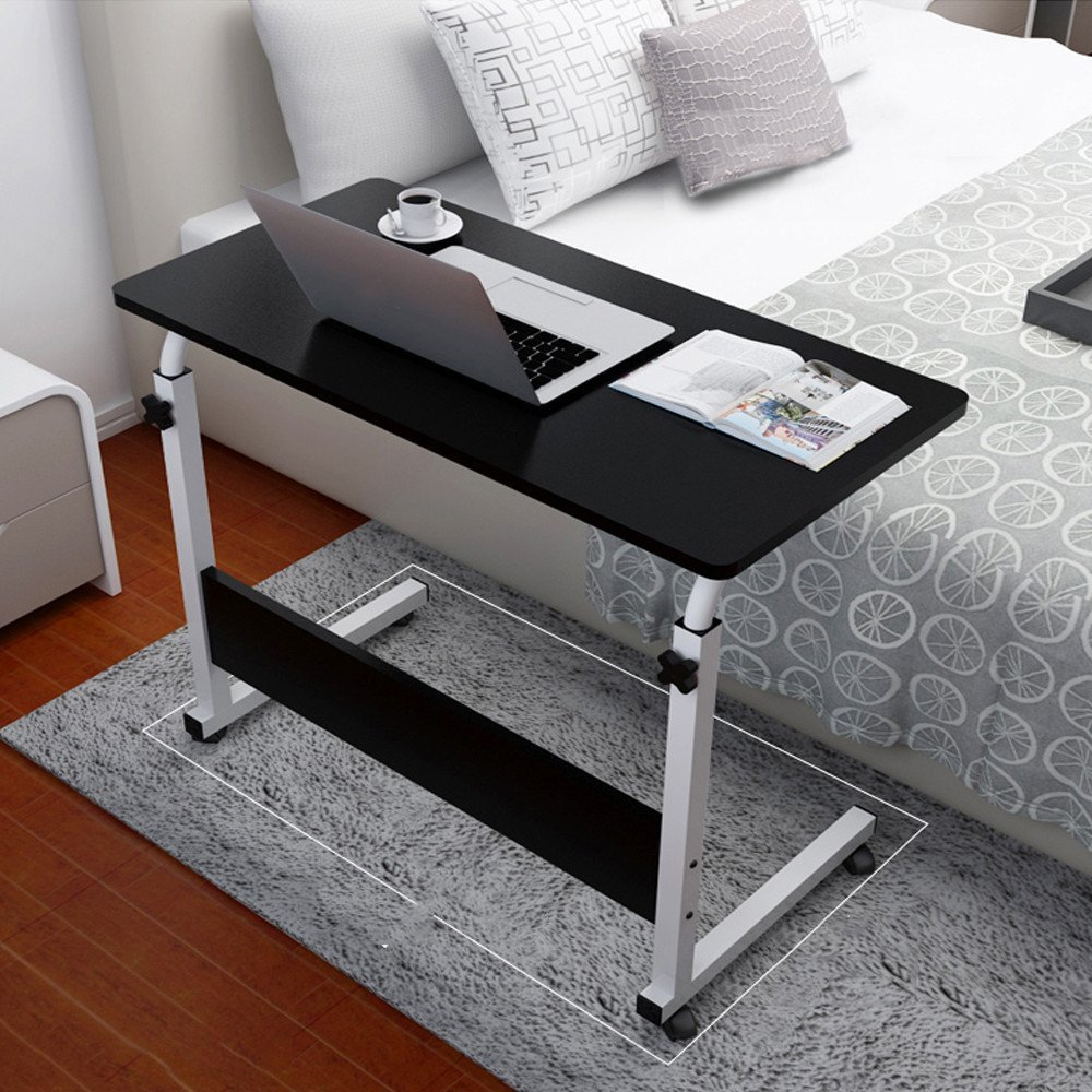 Allywit Folding Computer Desk 80cm50cm Computer Desk Cart, Height-Adjustable from 55cm to 73cm, Rotated 180 degrees (Black)
