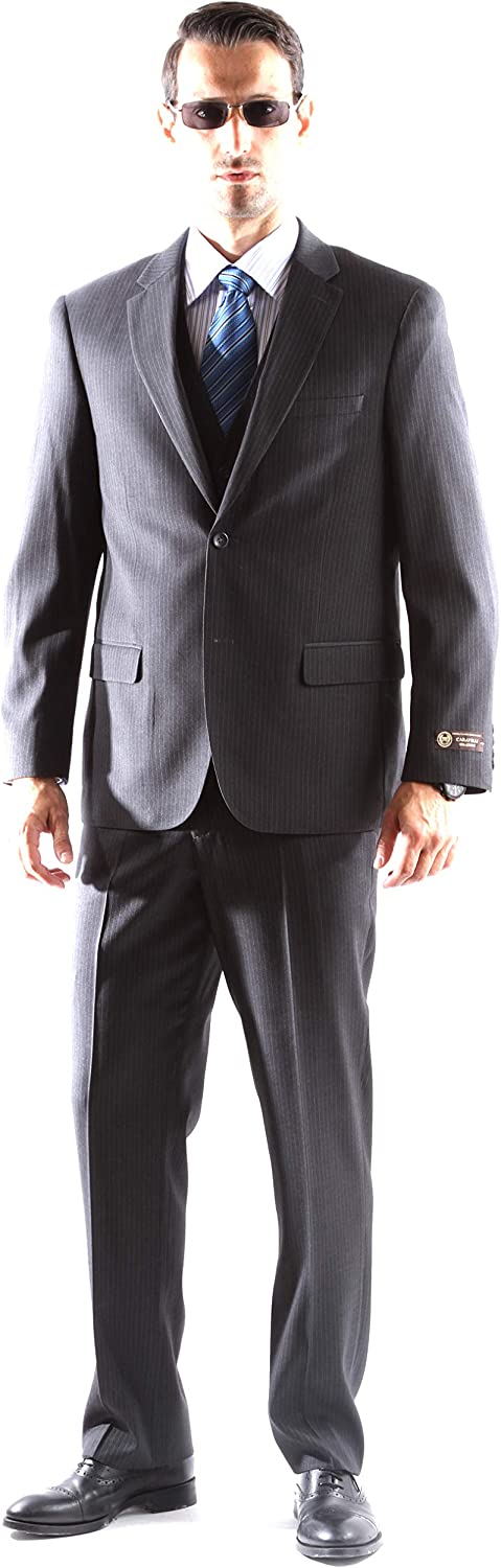 Men's Superior 150s Single Breasted Two Button Pinstripe Dress Suit