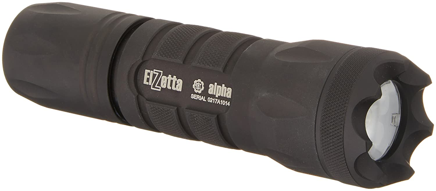 Standard Lens Remote Tape Switch with 12 Cable Elzetta A316 Alpha 1-Cell Flashlight with Crenellated Bezel Ring
