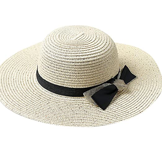 Vintage Women/'s Brim Floppy Straw Fedora Hat Summer Beach Sun Cap With Bow Band