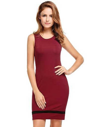 Meaneor Women's O-Neck Sleeveless Business Workwear Bodycon Dress