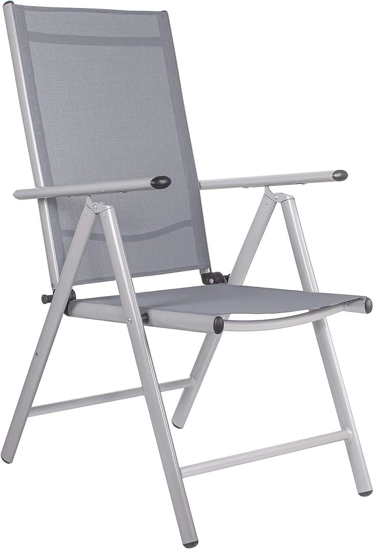 SPRINGOS Silla plegable de jardín de aluminio para balcón, patio, con reposabrazos, textileno (gris)