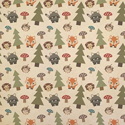 amazon com woodland animals kraft present gift wrap wrapping paper