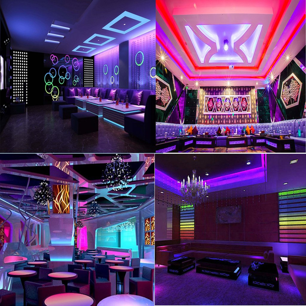 CATIYA Ultra Violet LED, UV Black Light Fixtures, Waterproof LED SMD 5050 with 12V 2A Power Adapter, Lighting for Kitchen Cabinet, Closet, Wardrobe, Club, Bar, Stage DJ Party, Fish Tank