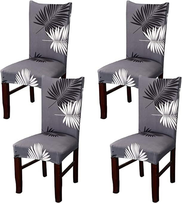 Coverurz Premium Stretch Fit Removable, Washable Spandex Dining Chair Covers, Seat Protector Slipcover for Dining Room, Hotel, Ceremony, Banquet and Wedding and Party (4 Per Set, CCS016)