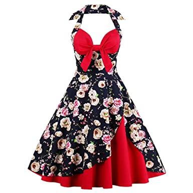 972db824385 DressLily Women s Pin Up Retro Halter Floral Print A Line Vintage Cocktail  Dress