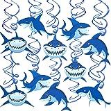 Konsait Shark Hanging Swirl Decoration Home Ceiling Wall Decor for Shark Sea Themed Splash Party Baby Shower Birthday…
