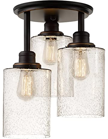 Awesome vintage industrial lighting fixtures remodel Style Annecy 3light Oilrubbed Bronze Semiflush Mount Ceiling Light Nativeasthmaorg Close To Ceiling Light Fixtures Amazoncom Lighting Ceiling