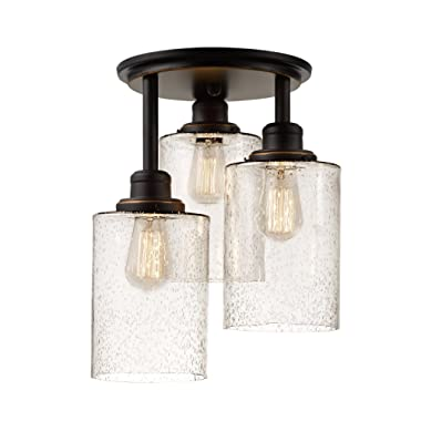 Globe Electric 65904 Annecy 3-Light Semi-Flush Mount Ceiling Light, Oil-Rubbed Bronze Finish, Seeded Glass Shades
