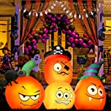 HueLiv Halloween Decorations Outdoor Inflatables, 4.9FT Length Blow Up Yard Decorations Pumpkin Lights Animated Inflatable Bu