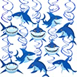 Konsait Shark Hanging Swirl Decoration Home Ceiling Wall Decor for Shark Sea Themed Splash Party Baby Shower Birthday Party F