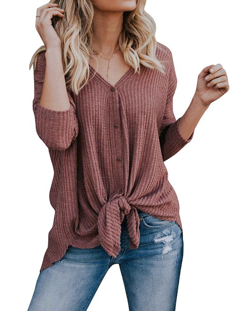 Blanycool Womens Lightweight Sweater Button Down V Neck Front Tie High Low Tops