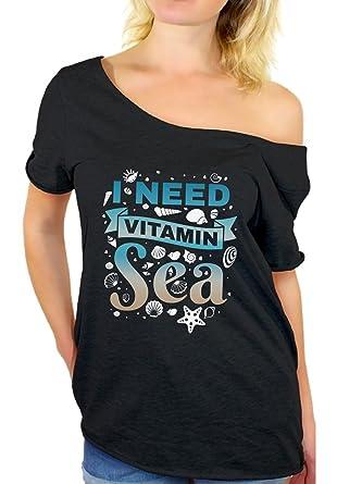 846e0f098 Awkward Styles I Need Vitamin Sea Off Shoulder Shirt Women's Summer Baggy  Shirt Black S