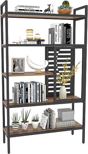 Weehom 5-Tier Adjustable Industrial Bookshelf