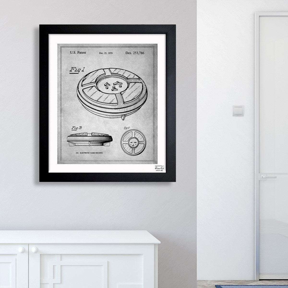 Amazon.com: Simon, 1979 - Gray Vintage Framed Wall Art Print for Home decor & Office. The Classic Wall Decor Blueprint Collection by The Oliver Gal Artist ...