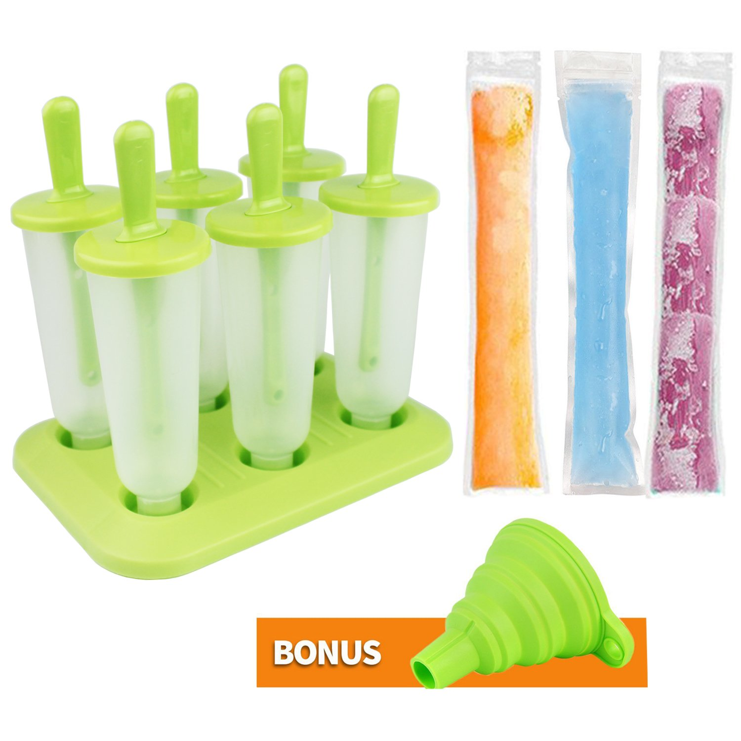 Ice Cream Pop Molds Set and 40 Pack Disposable Ice Pop Pouches with 1 Free Collapsible Funnel Bioeilife