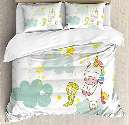 Amazon Unicorn Bet Set 4pcs Bedding Sets Duvet Cover