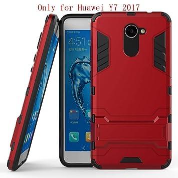 Huawei Y7 Funda, SMTR Ultra Silm Híbrida Rugged Armor Case Choque Absorción Protección Dual Layer Bumper Carcasa con pata de Cabra para Huawei Y7 ...