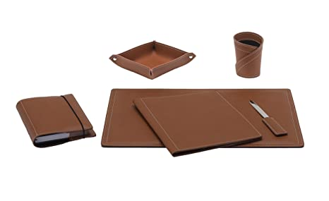 Ascanio set di accessori da scrivania in cuoio colore marrone