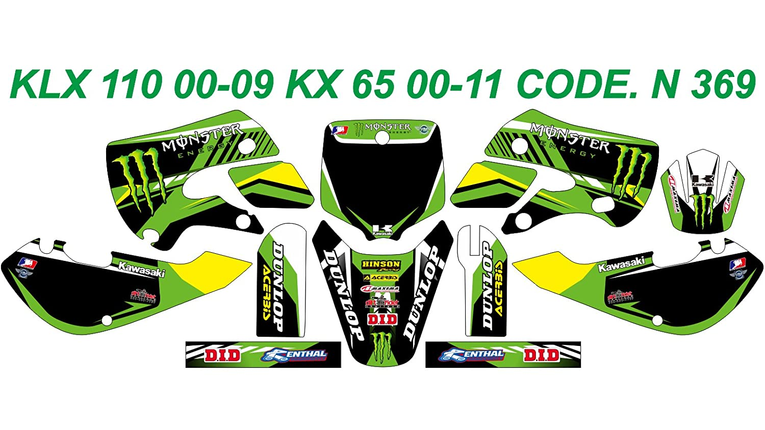 N 369 KAWASAKI KLX 110 00-09 KX 65 00-13 DECALS STICKERS GRAPHICS KIT