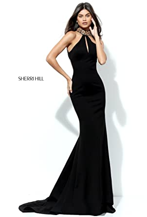 Sherri Hill Wine 50594 Jewelled Neck Dress with Train UK 6 (US 2)