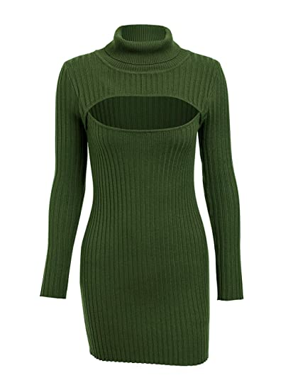 208338faef Simplee Women's Sexy Ribbed Hollow Out Knitted Sweater Dress Turtleneck Mini  Bodycon Dress Army Green