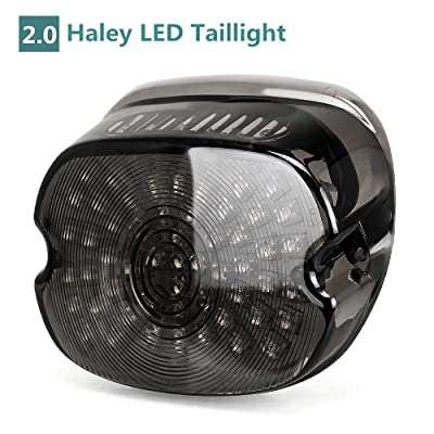 Upgraded Harley LED Tail Lights with Turn Signal Brake Driving Lights, Lay Down Led License Plate Tail Lamp for Harley Davidson Sportster FLST Electra Glides Road Glides 2002-2010 Dynas, Black 1PCS: Automotive