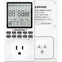 Timer Outlet, Nearpow Multifunctional 7-Day Cycle Programmable Plug-in Digital Timer Switch for Appliances, Extra large LCD Display, 19 Programmable Settings, Seconds-Interval, 15A/1800W