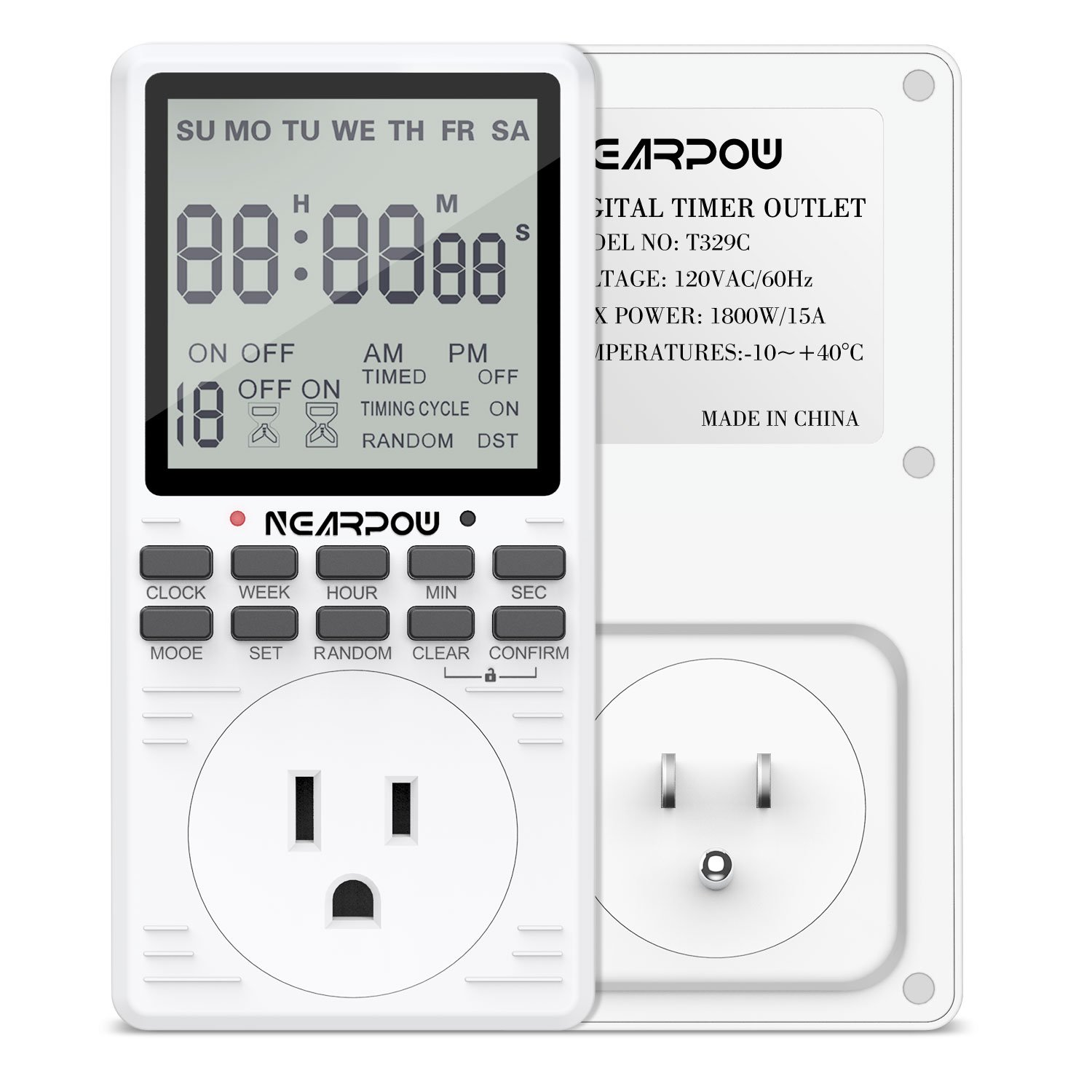 Timer Outlet Nearpow Multifunctional 7 Day Cycle Programmable Plug Digital Circuit In Switch For Appliances Extra Large Lcd Display 19