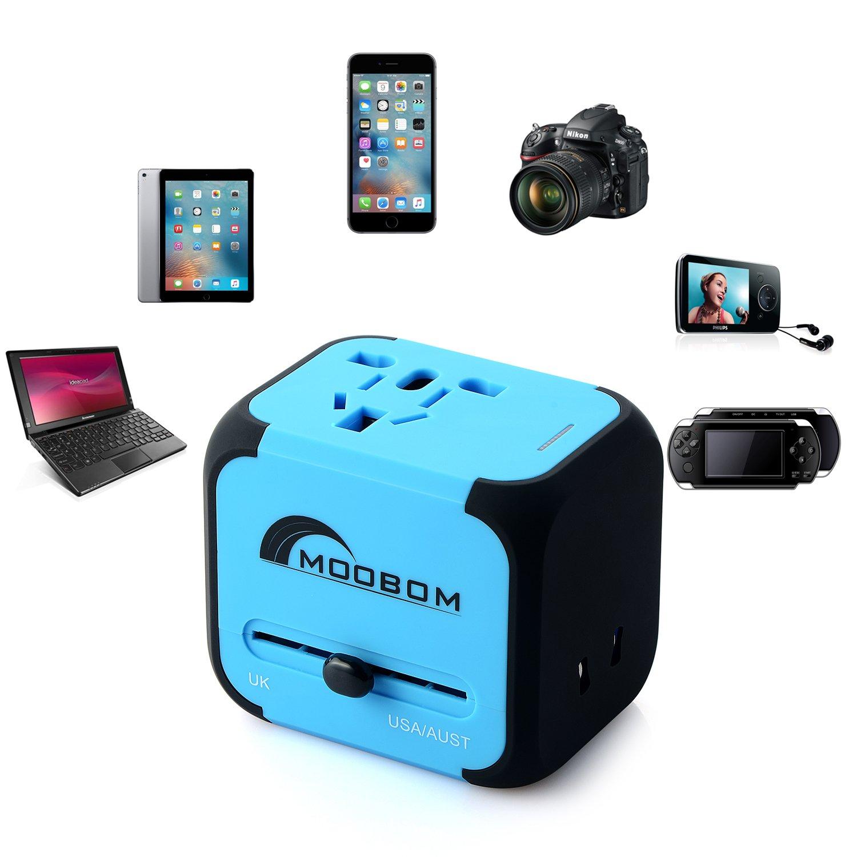 Moobom universal en todo el mundo Portable Travel adaptador de enchufe (US UK EU AU) cargador multinacional con Max 2.4A dos puertos USB y fusible AC-en el cargador
