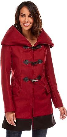 manteau femme capuche large bordeaux