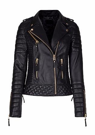 ce24646cd30da Women Diamond Quilted Kay Leather Black Biker Jacket at Amazon Women's Coats  Shop