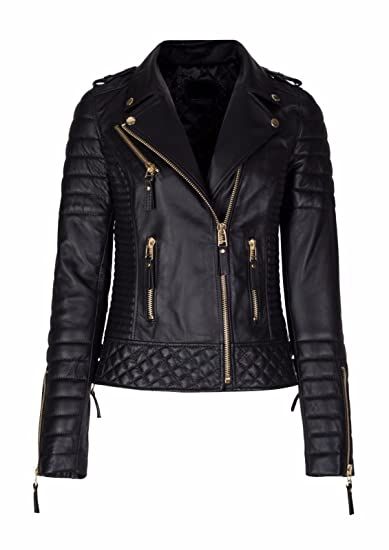8a891d7ea Women Diamond Quilted Kay Leather Black Biker Jacket