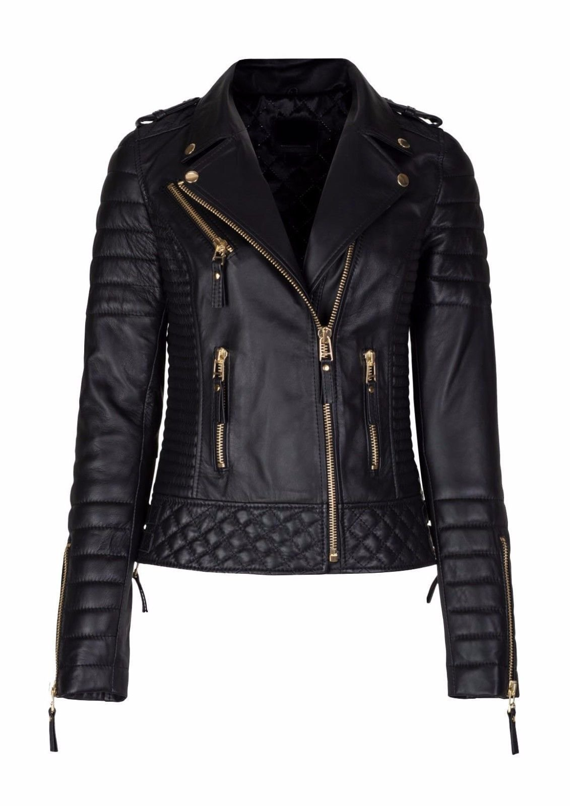 Finest Collections Women Diamond Quilted Kay Leather Black Biker Jacket (Black, L- Suitable For 37-38 inches Actual Bust) by Finest Collections