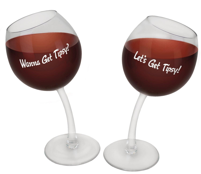 amazoncom bigmouth inc tipsy wine glasses set of 2 kitchen u0026 dining