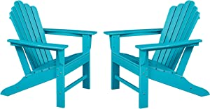 Ehomexpert Classic Outdoor Adirondack Chair Set of 2 for Garden Porch Patio Deck Backyard, Weather Resistant Accent Furniture, Blue
