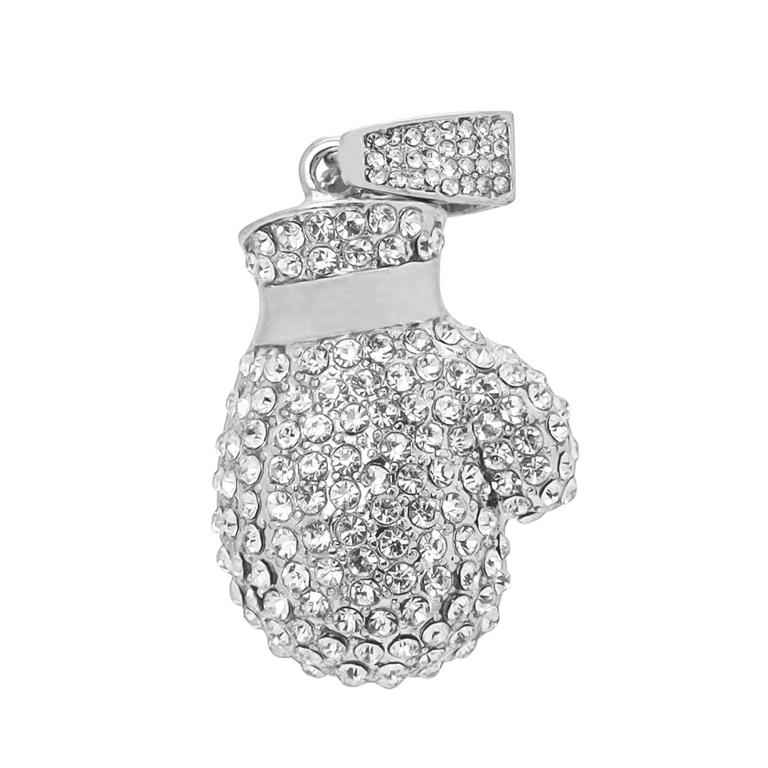 White Gold-Tone Iced Out Hip Hop Bling Boxing Glove Pendant with Princess Cut Cubic Zirconia 24 Tennis Chain and 24 Rope Chain