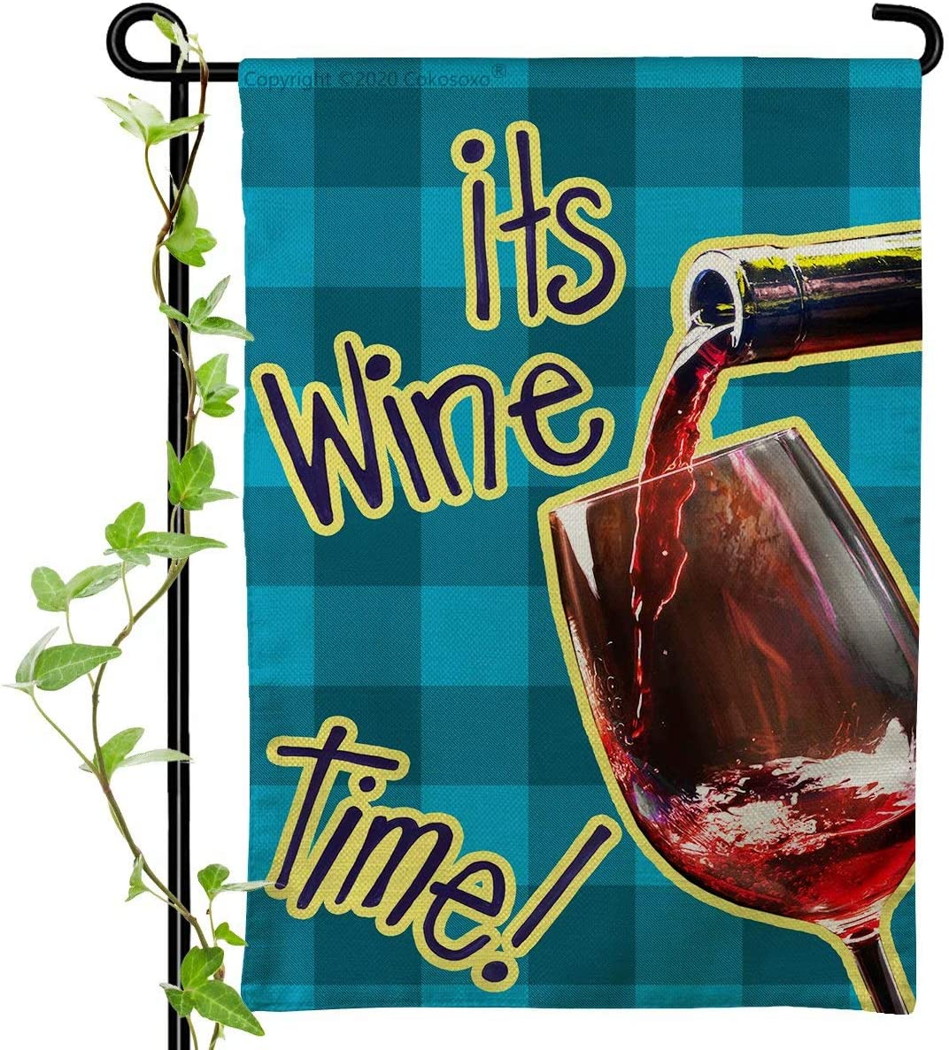 Cokosoxo It's Wine Time Garden Flag-Happy Party Wine Glasses and Red Wine Bottle - Burlap Vertical Double Sided Blue Greay Buffalo Plaid Outdoor Decor for Yard Lawn 12x18 inch