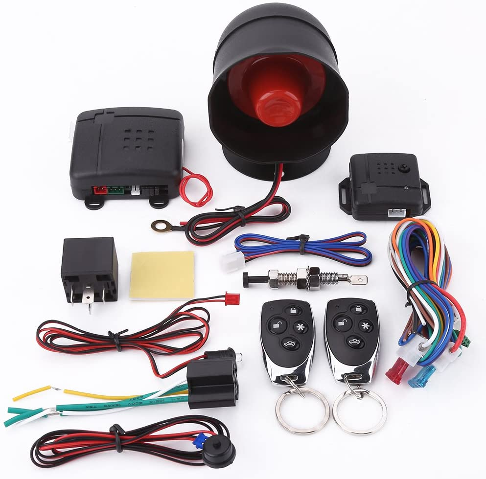 Car Alarm System Universal Car Alarm Security Protection System Keyless Entry with 2 Remote Controls Siren