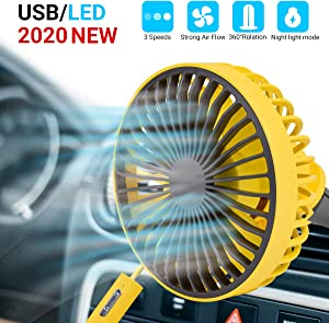 Car Cooling Fan, USB Mini Car Fan, Adjustable 3-Speed with Night Light Mode, for Car A/C Vent Home Office (Yellow)
