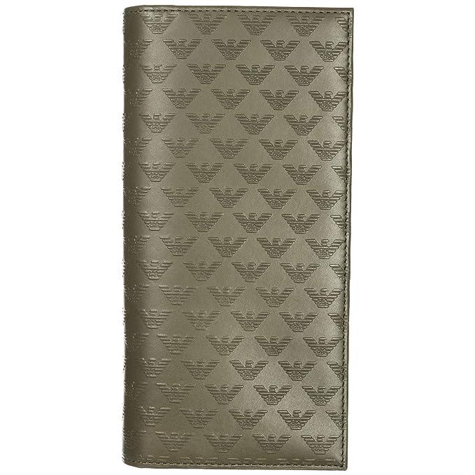 Emporio Armani monedero cartera bifold de hombre en piel nuevo verde: Amazon.es: Ropa y accesorios