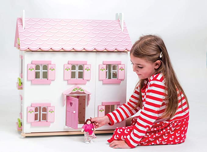 VOILA TOY wooden 2 LEVEL ECO-FRIENDLY DOLLS HOUSE 6 ROOMS FURNITURE Brand NEW