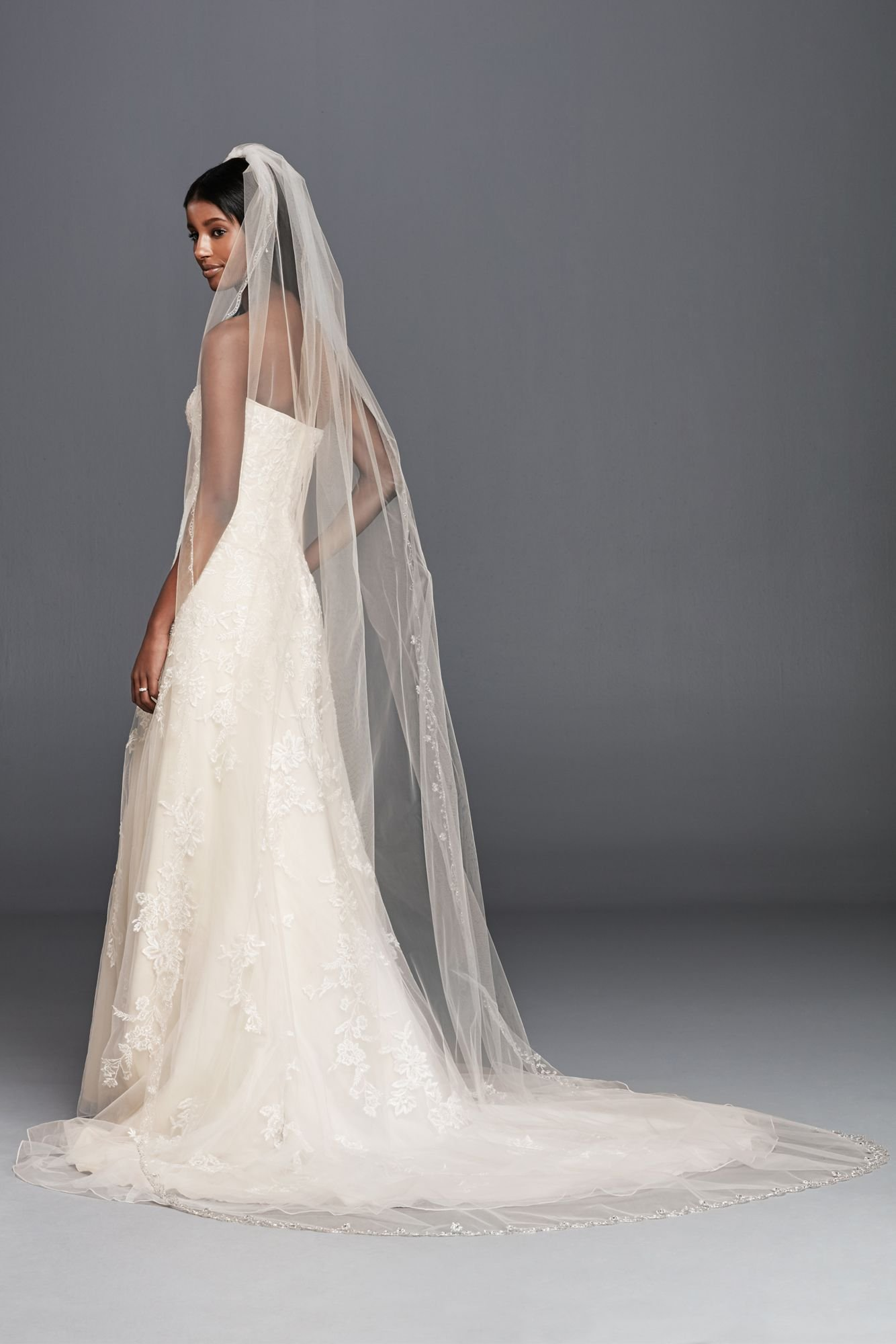 Top-Sexy Champagne 1 Tier 3M Cathedral Sparkly CrystalSilver Lined Beaded Edge Fingertip Length Bridal Wedding Veil 04