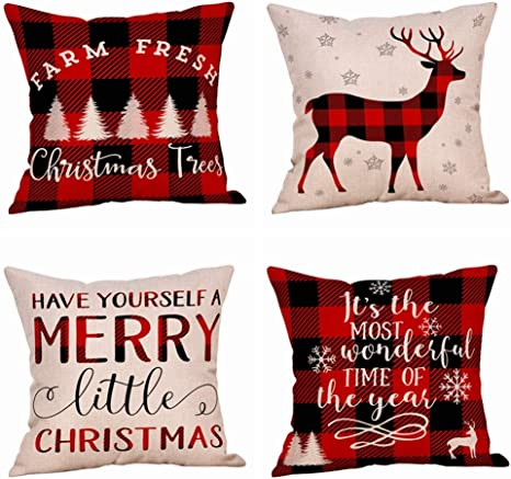 HOLIDAY PILLOW COVER Have Yourself a Merry Little Christmas Pillow Case Pillow Sham 18 X 18 Farmhouse Christmas Gift