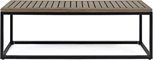 Christopher Knight Home 306429 Drew Outdoor Industrial Acacia Wood and Iron Bench, Gray, Grey Finish/Black Metal