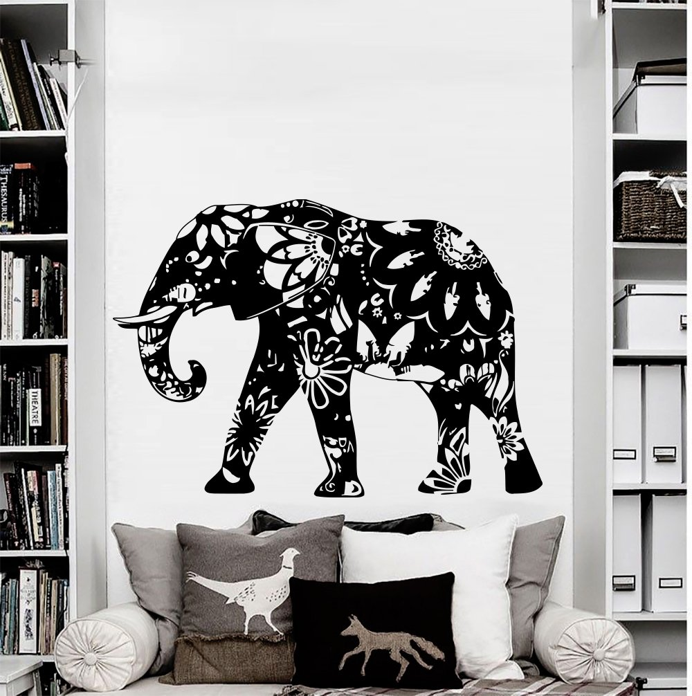 amazon com wall decal elephant vinyl sticker decals home decor amazon com wall decal elephant vinyl sticker decals home decor murals indian elephant floral patterns mandala tribal buddha ganesh bedroom dorm os39 home