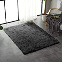 Designer Soft Shag Shaggy Floor Confetti Rug Carpet Home Decor 80x120cm Black Black 120x80cm