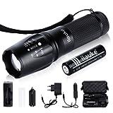 ilauke LED Taschenlampe XM-L T6 Superhell mit Premium 18650 Batterie Ladegerät in Aufbewahrungsbox